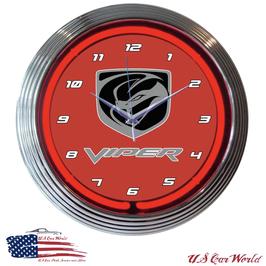 Dodge VIPER Neonuhr - Doge Viper Logo - Neon Rot