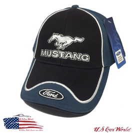 Ford Mustang Basecap - Mustang Running Horse & Ford Blue Oval Logo - Schwarz/Blau