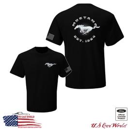 Ford Mustang T-Shirt - Mustang Running Horse US Flag T-Shirt - EST. 1964 - Schwarz