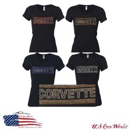 Corvette Ladies T-Shirt mit Strasssteinen - Schwarz