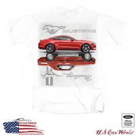 Ford Mustang T-Shirt - 2 Red Mustangs - Mirrored Mustang Motiv - Weiß