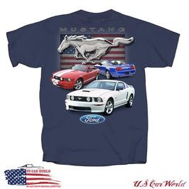 Ford Mustang T-Shirt - Running Horse USA - Dunkelblau