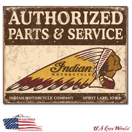 "Blechschild ""Authorized Indian Parts and Service"""