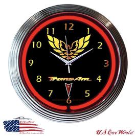 Pontiac Firebird - Trans AM Neonuhr - Trans AM Logo - Neon Rot