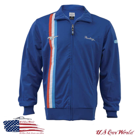 Ford Mustang Sweatjacke - Ford Mustang Track Jacket - Blau mit Tribar Logo