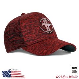 Ford Mustang Basecap - Mustang Tribar Logo - Knit Cap - Rot Melange - lizensiert