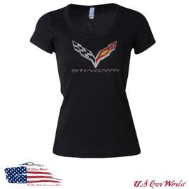 Corvette C7 Ladies T-Shirt mit Strasssteinen - Schwarz