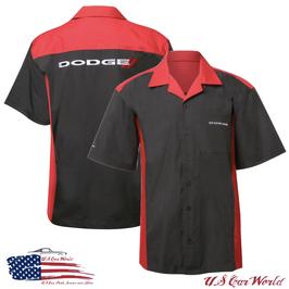 Dodge Pit Shirt - Dodge Mechanikerhemd mit gestickten Dodge Logos - Schwarz/Rot