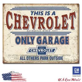 """Chevrolet Blechschild """"Chevy Only Garage"""""""