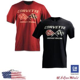 Corvette T-Shirt - Corvette Crossflag Logo T-Shirt  - Vintage Racing - Schwarz