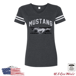Ford Mustang Damen T-Shirt - Mustang Pony Running Horse - Dunkelgrau