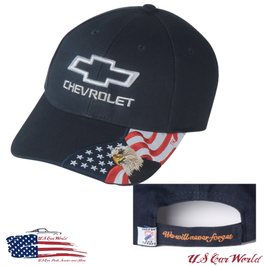 Chevrolet Basecap - Chevy Bowite - US Flag - American Eagle - Navy