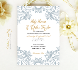Grey lace wedding invitation # 19.1