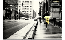 Chicago - Lonely Girl with Yellow Umbrella (1/4 Series)