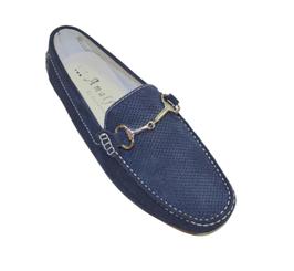 Mocassino In Camoscio Blu Forato Elegance