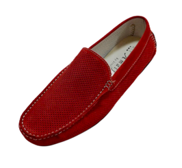 Loafers In Red Perforated Suede