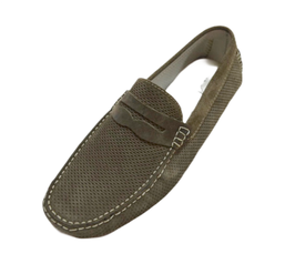 Loafers In Taupe Perforated Suede Penny
