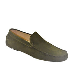 Loafers In Green Suede