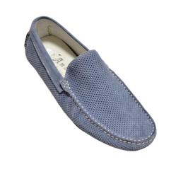 Mocassino In Camoscio Jeans Forato