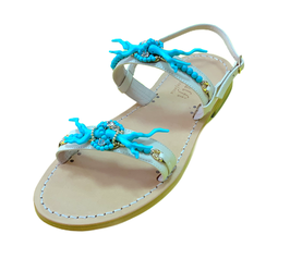 Capri Sandals with Turquoise Coral
