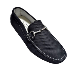 Loafers In Black Perforated Suede Elegance