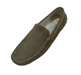 Loafers In Taupe Perforated Suede