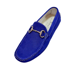 Loafers In Royal Blue Perforated Suede Elegance