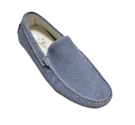 Loafers In Jeans Perforated Suede