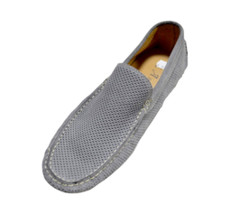 Loafers In Grey Perforated Suede