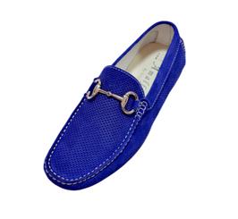 Mocassino In Camoscio Blu Elettrico Forato Elegance