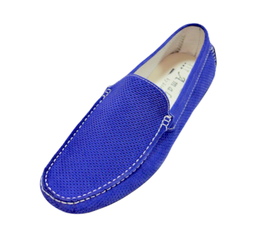 Loafers In Royal Blue Perforated Suede