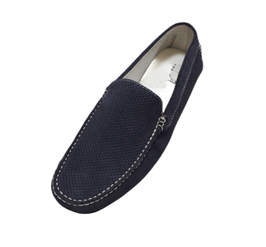 Loafers In Blue Perforated Suede