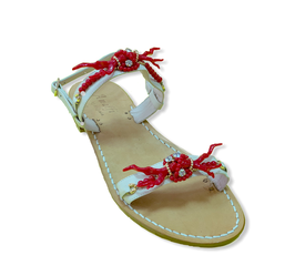 Capri Sandals with Red Coral