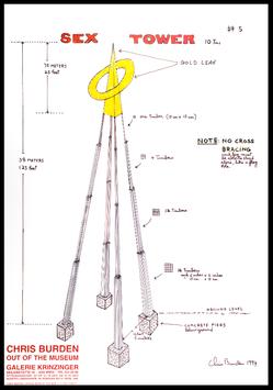Poster (Burden - Chris Burden - Sex Tower - Out of the Museum) 1996.