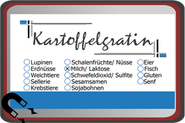 """Buffetschild """"modern"""" blau mit Allergenen"""