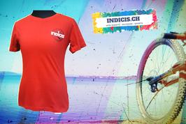 Indicis T-Shirt Woman in Rot mit dezenten V-Ausschnitt 100% Baumwolle