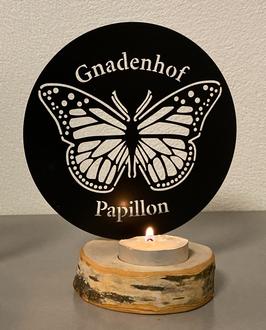 Papillon Teelicht SCHWARZ