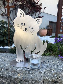 Katze Variante 1 mit Teelicht (nicht rostig)