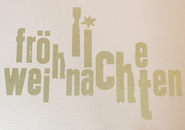 """Karte """"Fröhliche Weihnachten"""" (Altrosa mit Druck in Gold)"""
