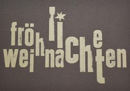 """Karte """"Fröhliche Weihnachten""""  (Anthrazit mit Druck in Gold)"""