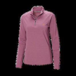 Genki-Vital, Tau Damen Langarmshirt mit Stehkragen und Reissverschluss beere