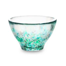 *GLASS SAKE CUP: GREEN HYDRANGEA