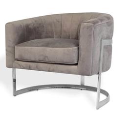 ROBERTO Arm Chair Mid Grey Velvet