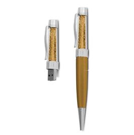 8 GB USB Kristall Kugelschreiber Gold/Gold