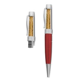 8 GB USB Kristall Kugelschreiber Dunkelrot/Gold