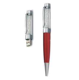 8 GB USB Kristall Kugelschreiber Dunkelrot/Weiss
