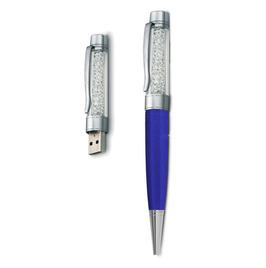 8 GB USB Kristall Kugelschreiber Blau/Weiss