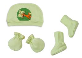 Комплект за новородено от 3 части - шапка, ръкавички, терлички - зелен