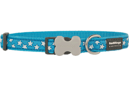 Red Dingo Dog/Puppy Collar White Stars on Turquoise