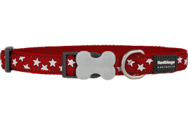 Red Dingo Dog/Puppy Collar White Stars On Red